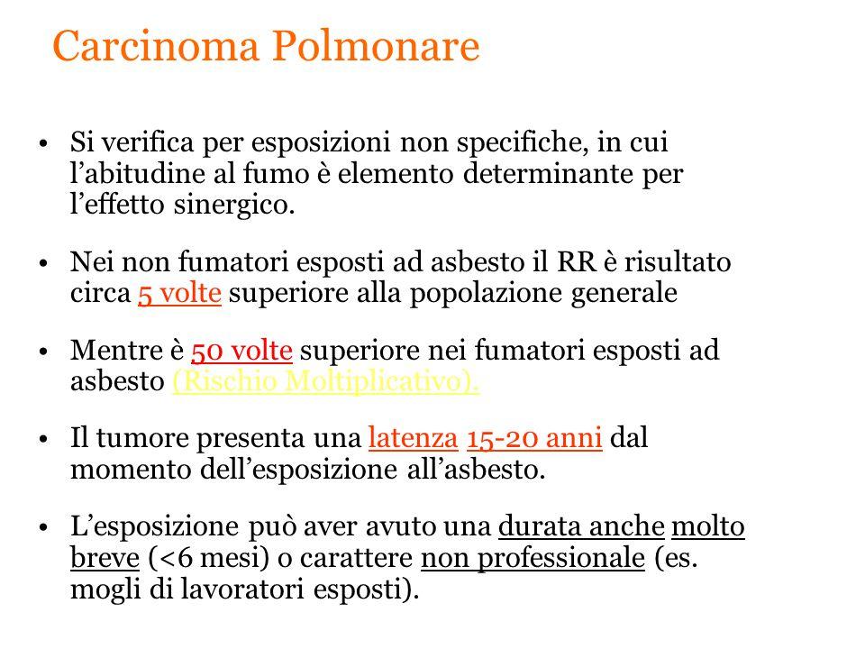 Carcinoma Polmonare Si verifica per esposizioni non specifiche, in cui l'abitudine al fumo è elemento determinante per l'effetto sinergico.