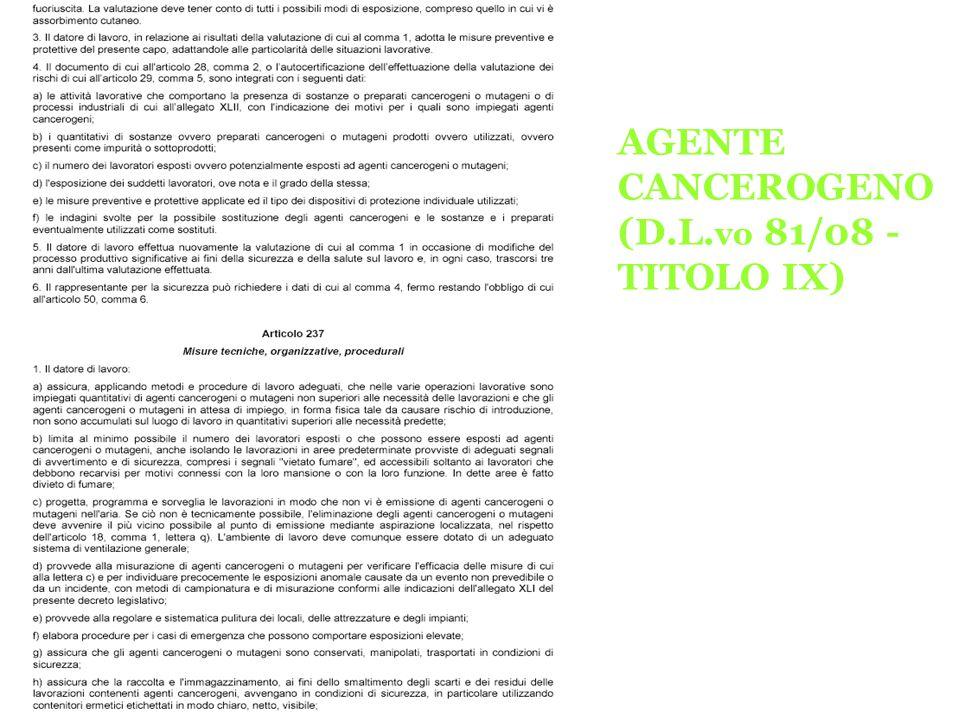 AGENTE CANCEROGENO (D.L.vo 81/08 -TITOLO IX)