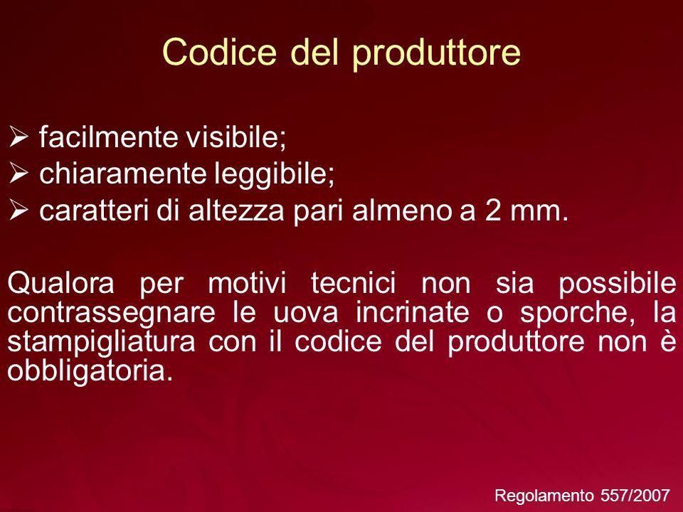 Codice del produttore facilmente visibile; chiaramente leggibile;