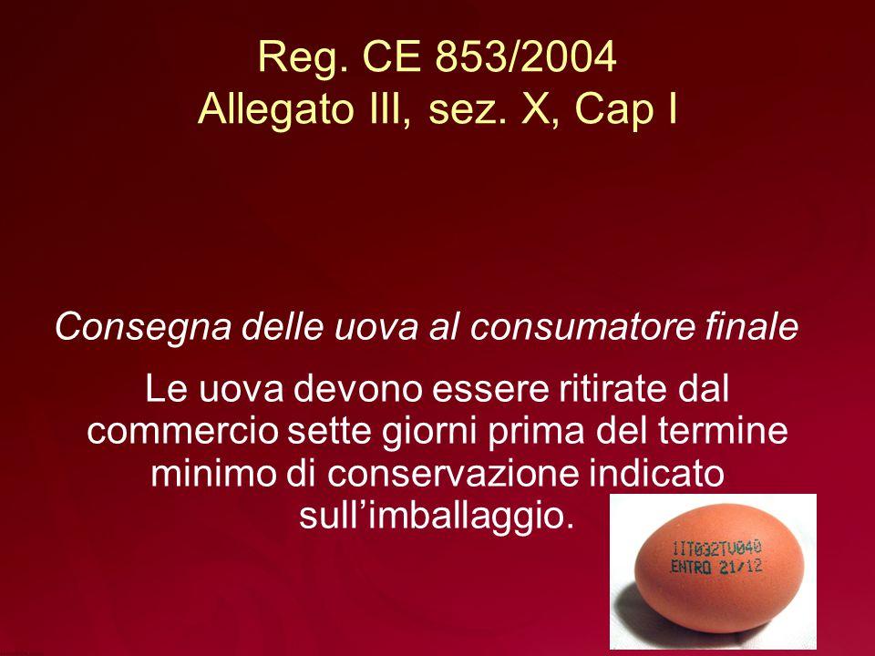 Reg. CE 853/2004 Allegato III, sez. X, Cap I