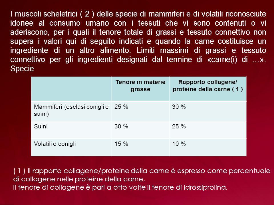 Rapporto collagene/ proteine della carne ( 1 )