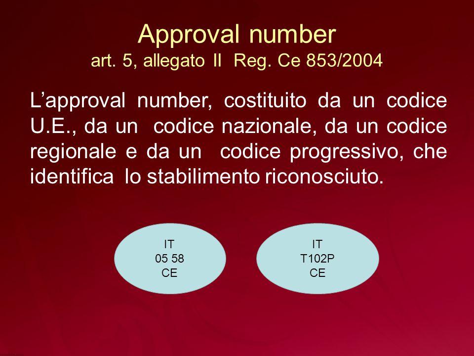 Approval number art. 5, allegato II Reg. Ce 853/2004