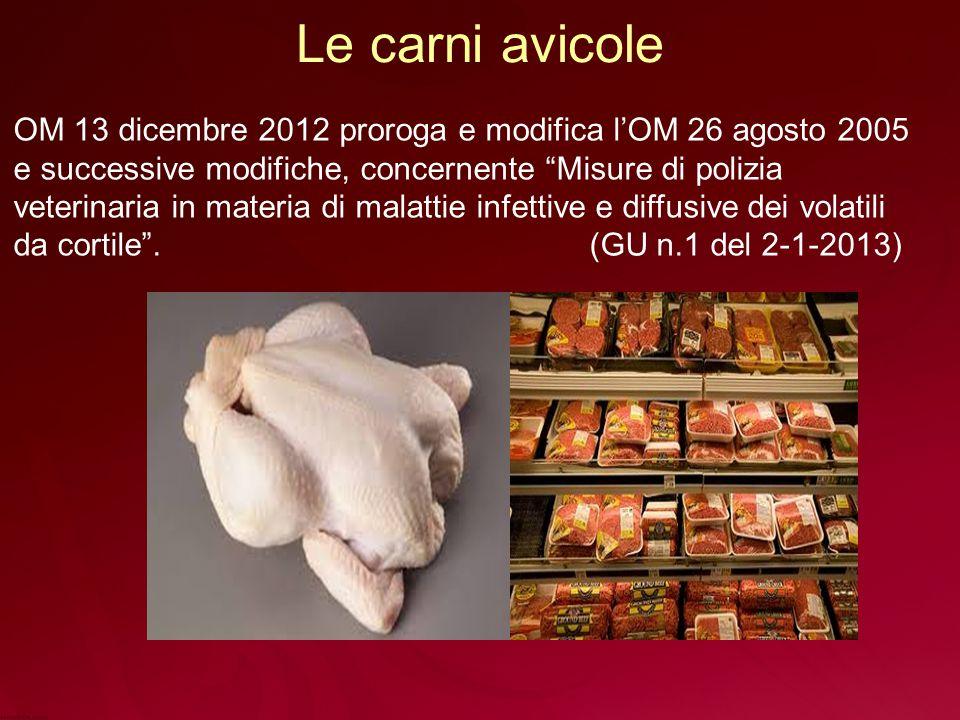 Le carni avicole OM 13 dicembre 2012 proroga e modifica l'OM 26 agosto 2005. e successive modifiche, concernente Misure di polizia.