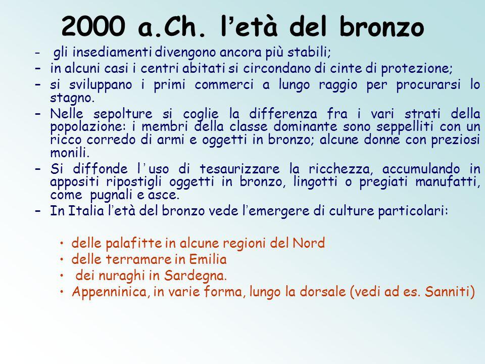 2000 a.Ch. l'età del bronzo gli insediamenti divengono ancora più stabili; in alcuni casi i centri abitati si circondano di cinte di protezione;