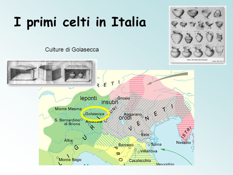 I primi celti in Italia Culture di Golasecca leponti insubri orobi