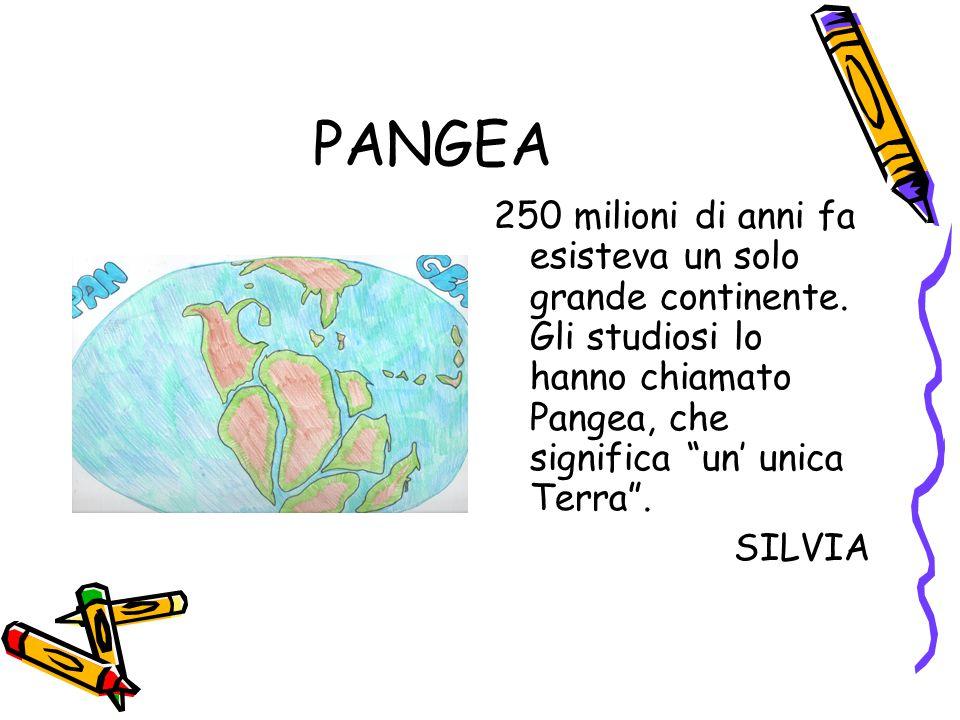 PANGEA 250 milioni di anni fa esisteva un solo grande continente. Gli studiosi lo hanno chiamato Pangea, che significa un' unica Terra .