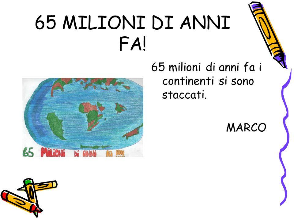 65 MILIONI DI ANNI FA! 65 milioni di anni fa i continenti si sono staccati. MARCO