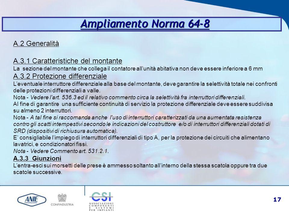 Ampliamento Norma 64-8 A.2 Generalità