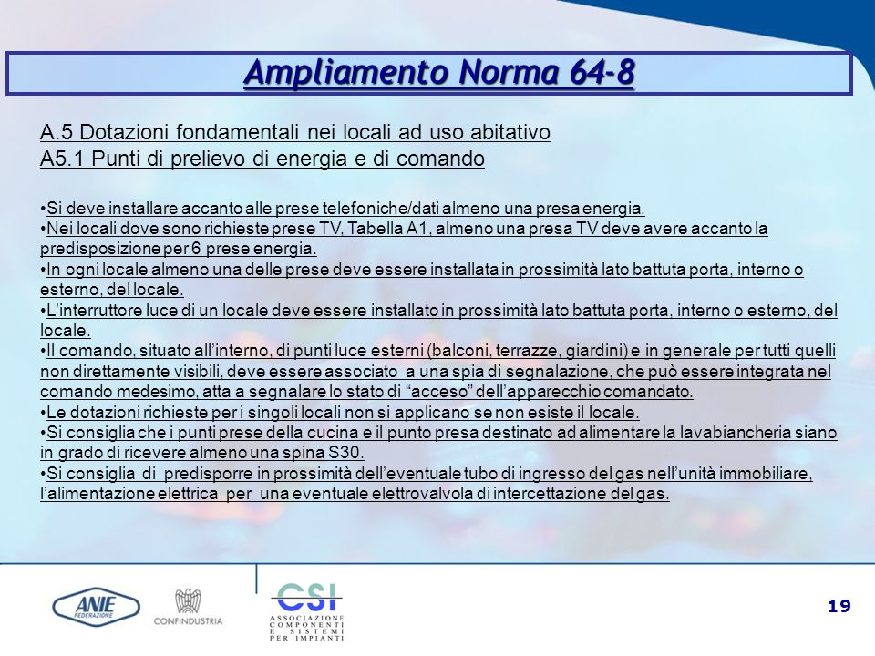 Ampliamento Norma 64-8 A.5 Dotazioni fondamentali nei locali ad uso abitativo. A5.1 Punti di prelievo di energia e di comando.