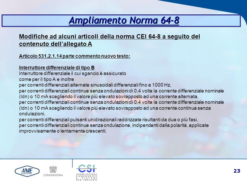 Ampliamento Norma 64-8 Modifiche ad alcuni articoli della norma CEI 64-8 a seguito del contenuto dell'allegato A.