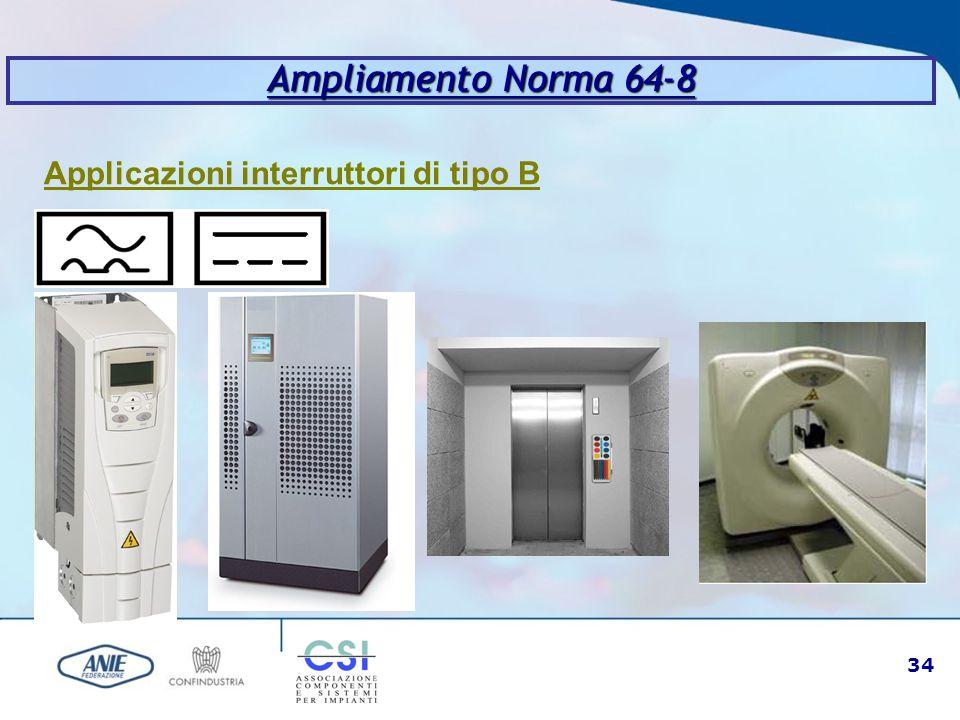 Ampliamento Norma 64-8 Applicazioni interruttori di tipo B
