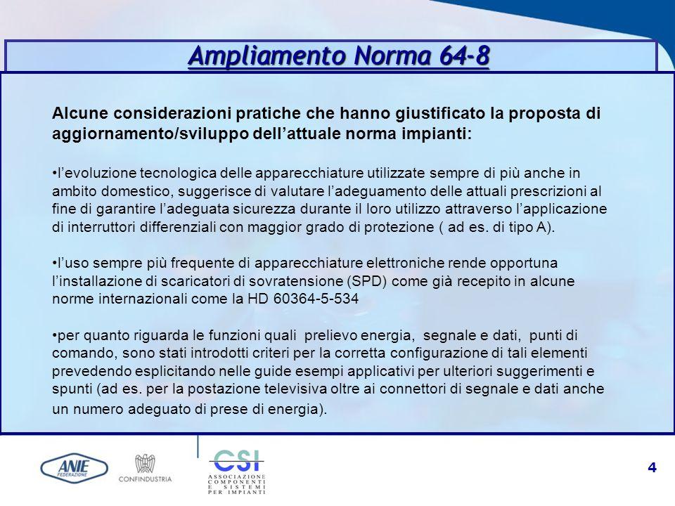 Ampliamento Norma 64-8 Alcune considerazioni pratiche che hanno giustificato la proposta di aggiornamento/sviluppo dell'attuale norma impianti: