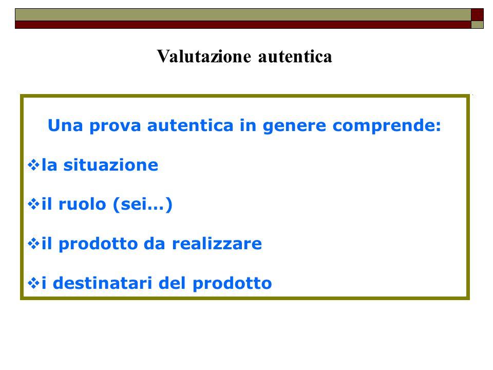 Valutazione autentica Una prova autentica in genere comprende: