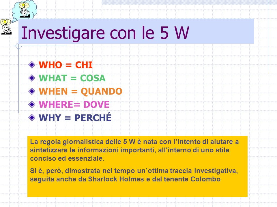 Investigare con le 5 W WHO = CHI WHAT = COSA WHEN = QUANDO WHERE= DOVE