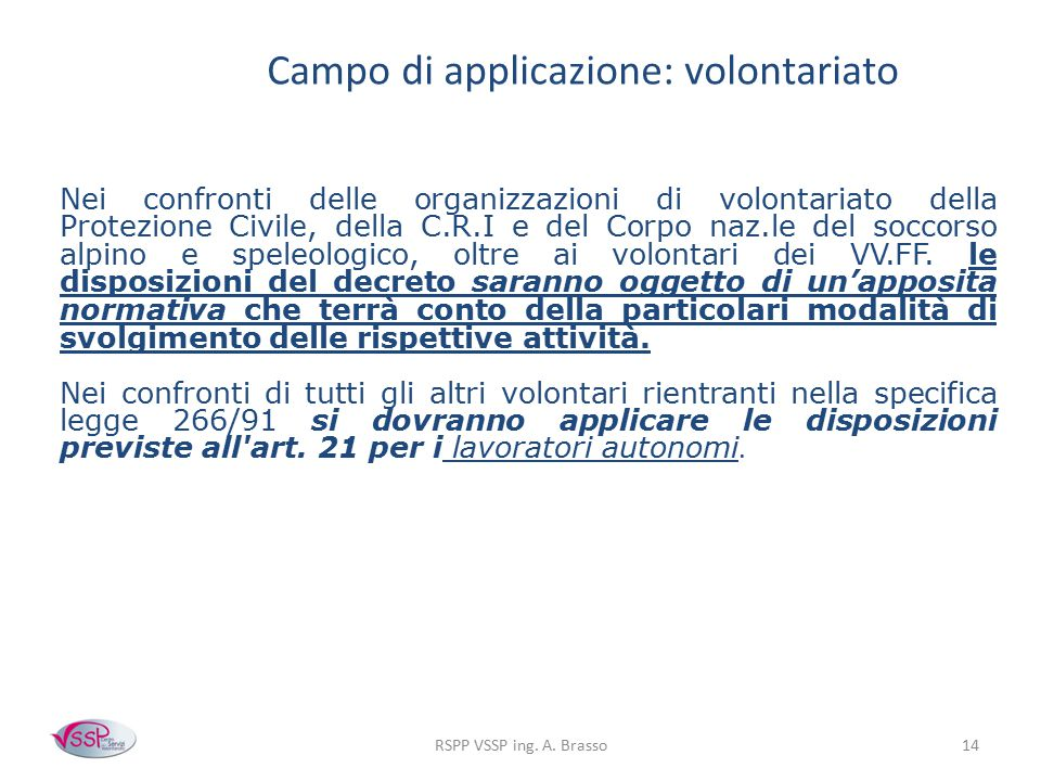 Campo di applicazione: volontariato