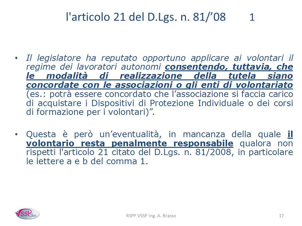 l articolo 21 del D.Lgs. n. 81/'08 1