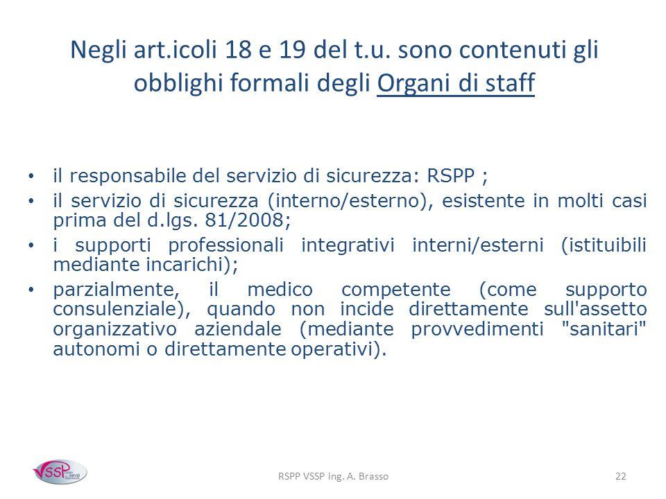Negli art.icoli 18 e 19 del t.u. sono contenuti gli obblighi formali degli Organi di staff