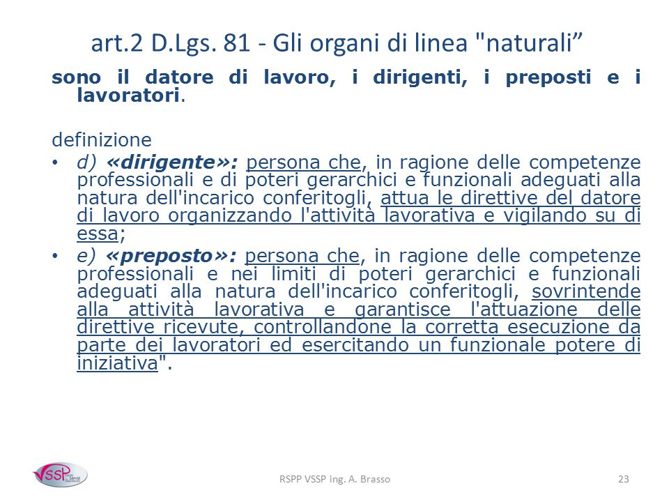 art.2 D.Lgs. 81 - Gli organi di linea naturali