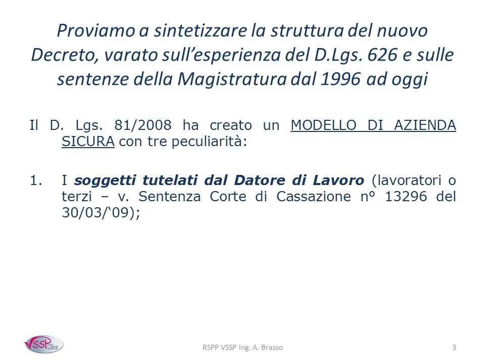 Proviamo a sintetizzare la struttura del nuovo Decreto, varato sull'esperienza del D.Lgs. 626 e sulle sentenze della Magistratura dal 1996 ad oggi