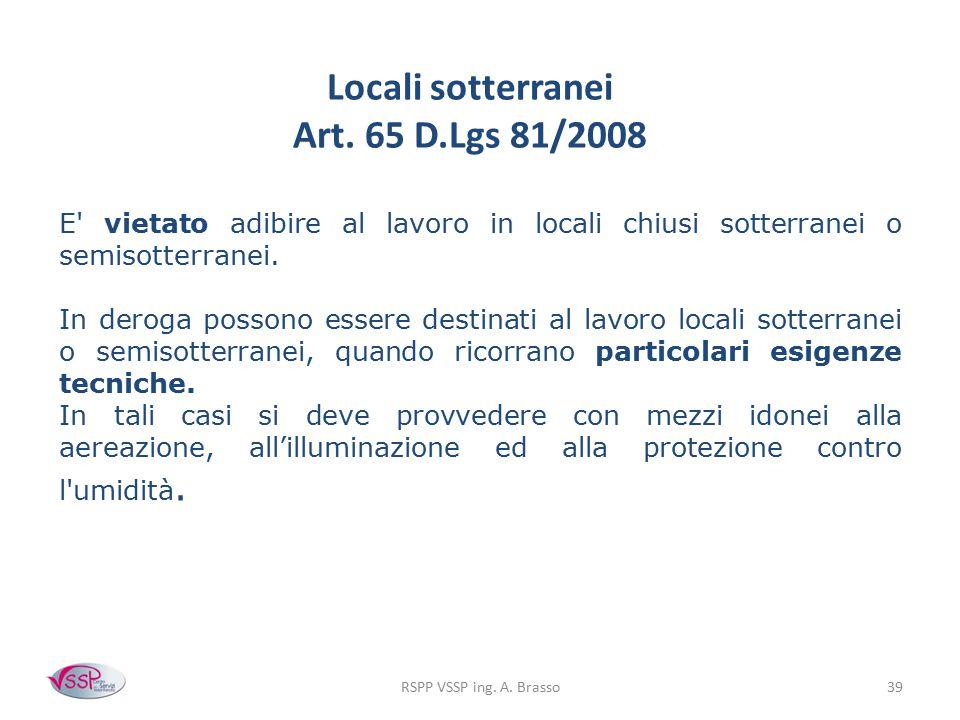 Locali sotterranei Art. 65 D.Lgs 81/2008