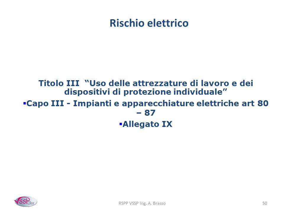 Capo III - Impianti e apparecchiature elettriche art 80 – 87