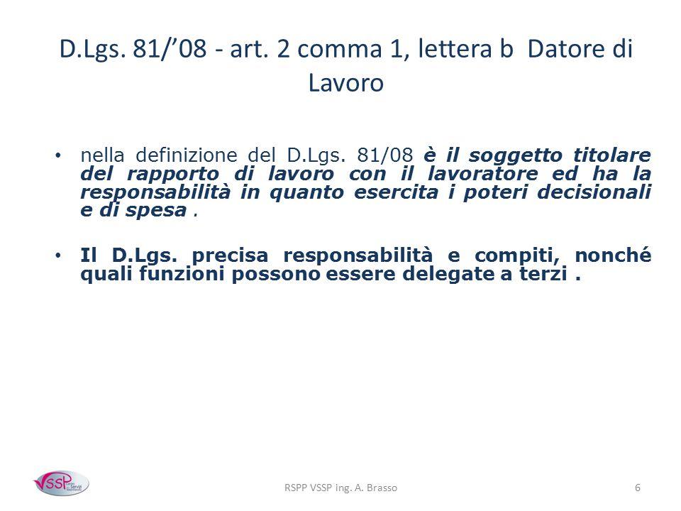 D.Lgs. 81/'08 - art. 2 comma 1, lettera b Datore di Lavoro