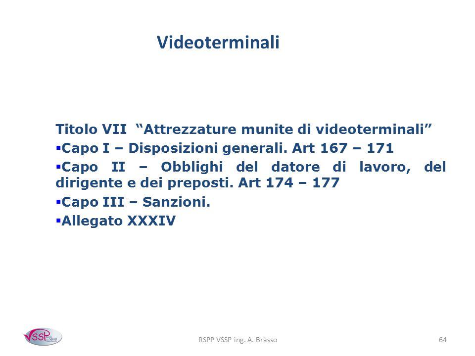 Videoterminali Titolo VII Attrezzature munite di videoterminali