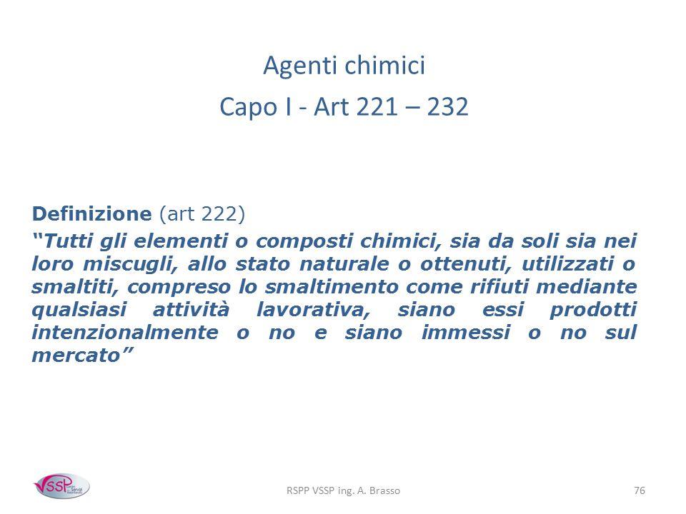 Agenti chimici Capo I - Art 221 – 232