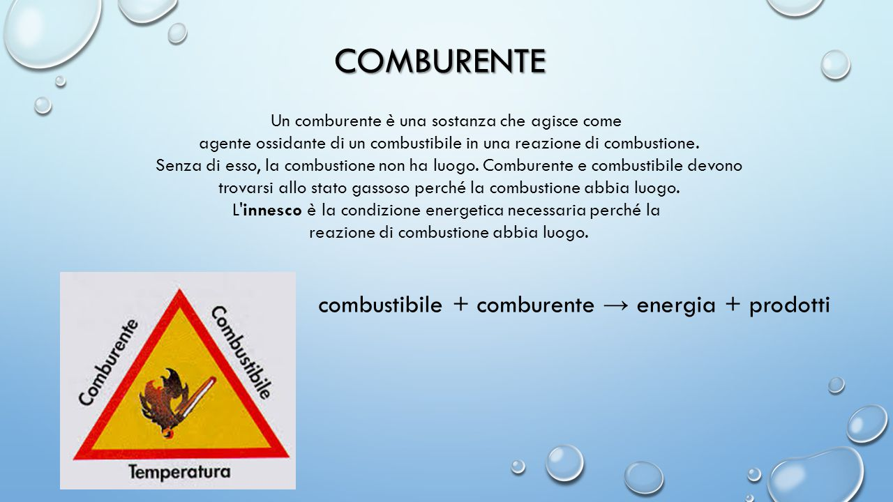 COMBURENTE combustibile + comburente → energia + prodotti