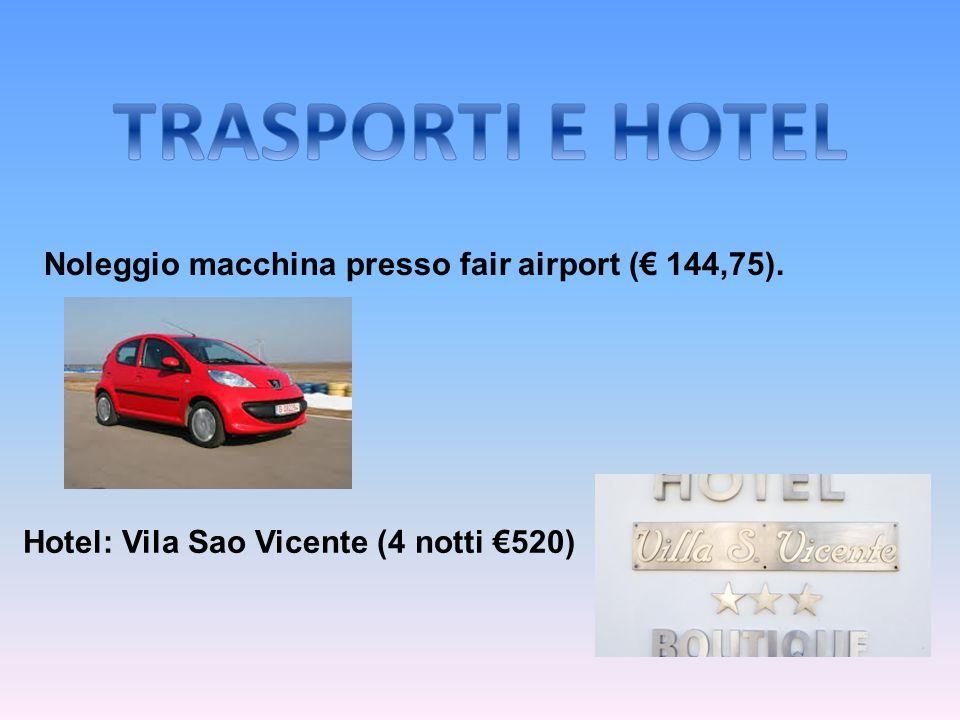TRASPORTI E HOTEL Noleggio macchina presso fair airport (€ 144,75).