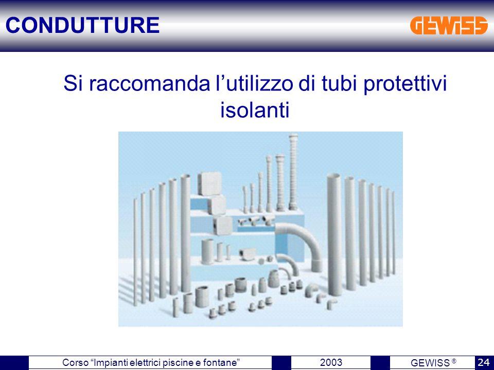 Si raccomanda l'utilizzo di tubi protettivi isolanti