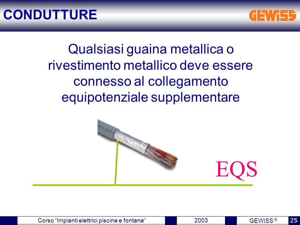 CONDUTTURE Qualsiasi guaina metallica o rivestimento metallico deve essere connesso al collegamento equipotenziale supplementare.