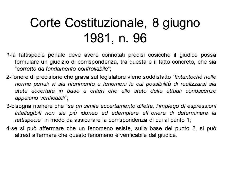 Corte Costituzionale, 8 giugno 1981, n. 96