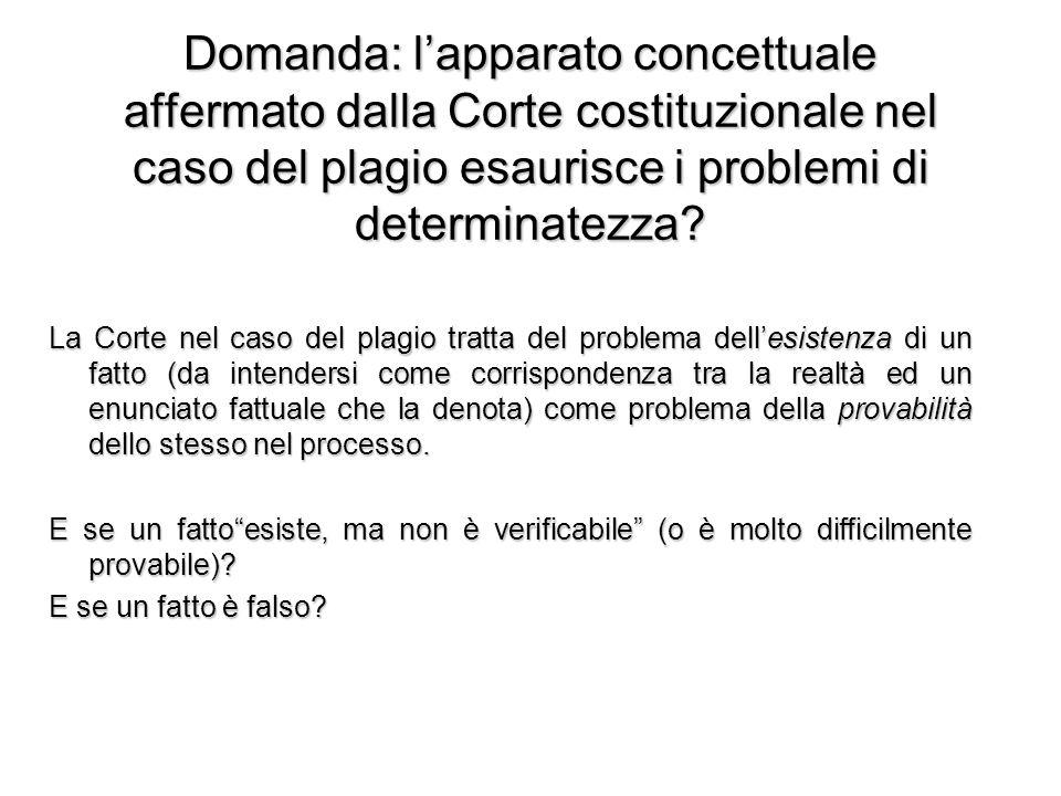 Domanda: l'apparato concettuale affermato dalla Corte costituzionale nel caso del plagio esaurisce i problemi di determinatezza