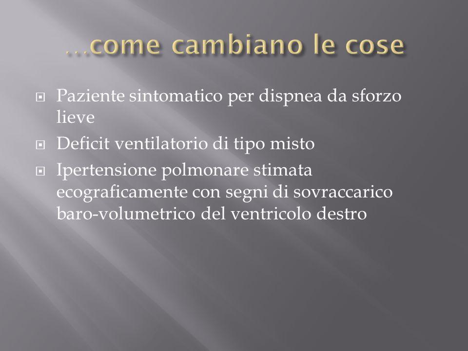 …come cambiano le cose Paziente sintomatico per dispnea da sforzo lieve. Deficit ventilatorio di tipo misto.
