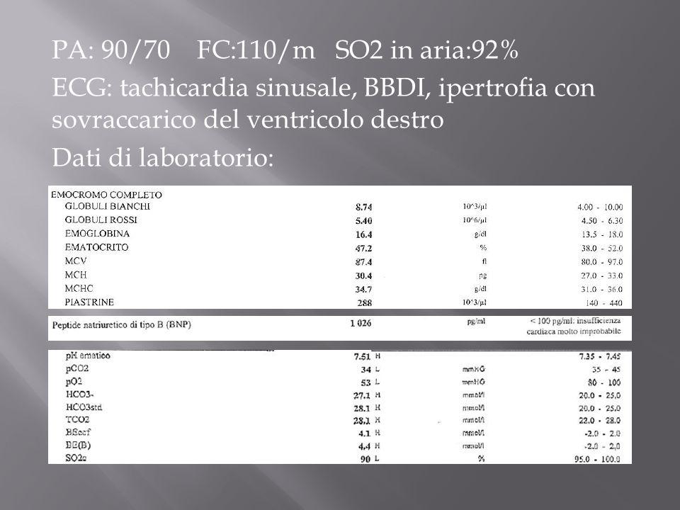 PA: 90/70 FC:110/m SO2 in aria:92% ECG: tachicardia sinusale, BBDI, ipertrofia con sovraccarico del ventricolo destro Dati di laboratorio: