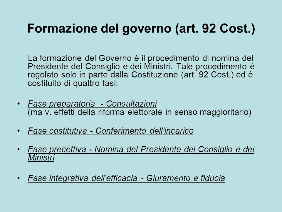 Formazione del governo (art. 92 Cost.)