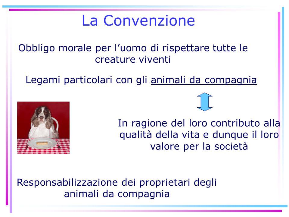 La Convenzione Obbligo morale per l'uomo di rispettare tutte le creature viventi. Legami particolari con gli animali da compagnia.