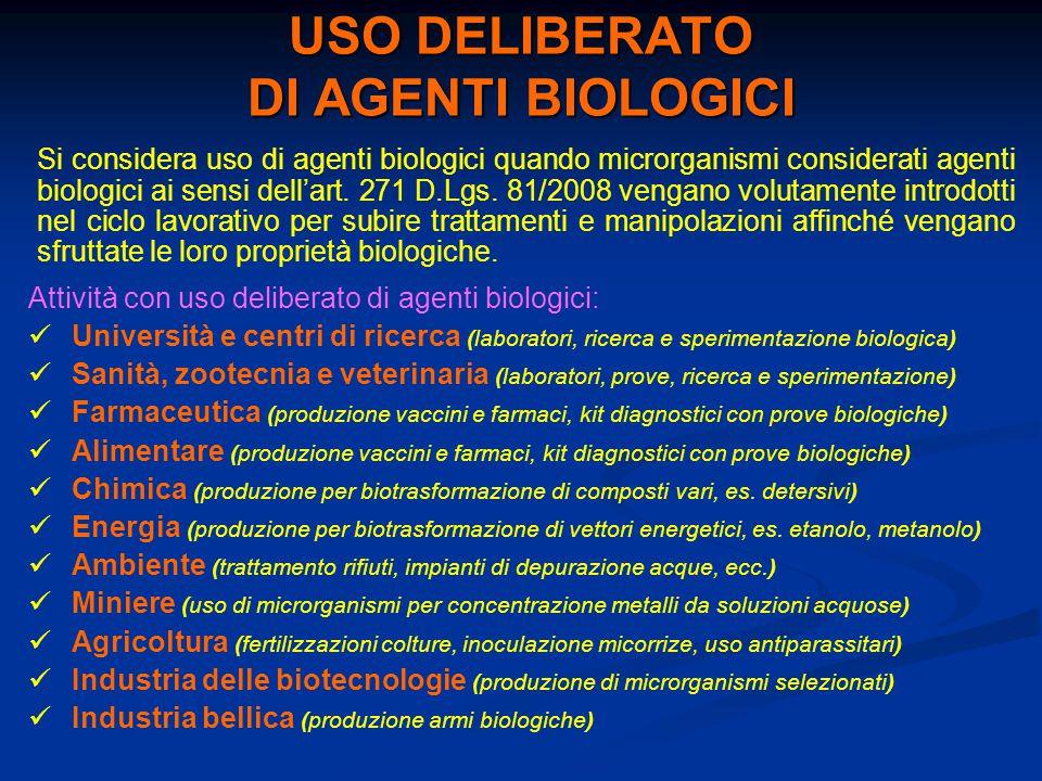 USO DELIBERATO DI AGENTI BIOLOGICI