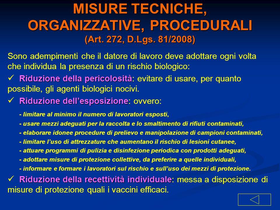 MISURE TECNICHE, ORGANIZZATIVE, PROCEDURALI (Art. 272, D.Lgs. 81/2008)