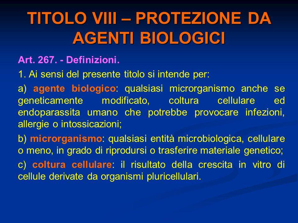 TITOLO VIII – PROTEZIONE DA AGENTI BIOLOGICI