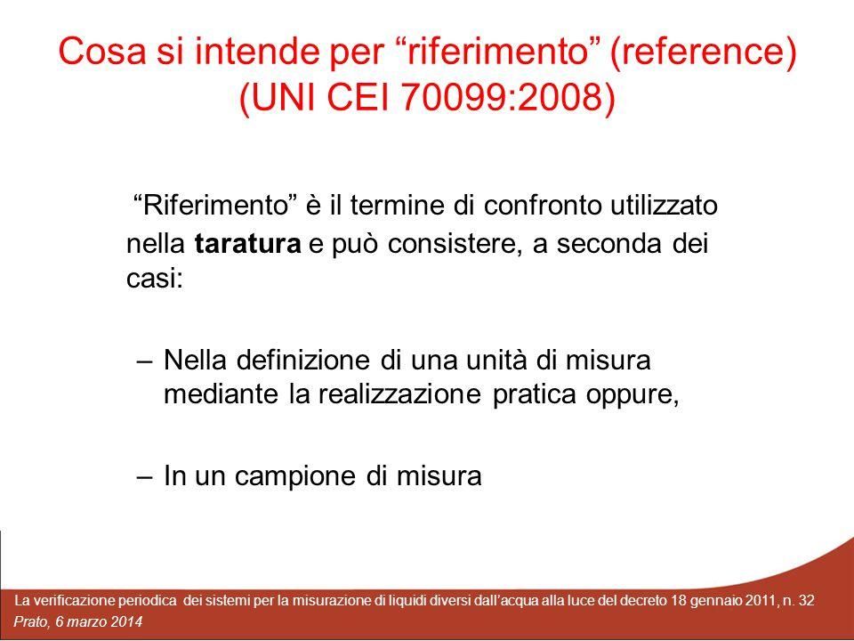 Cosa si intende per riferimento (reference) (UNI CEI 70099:2008)