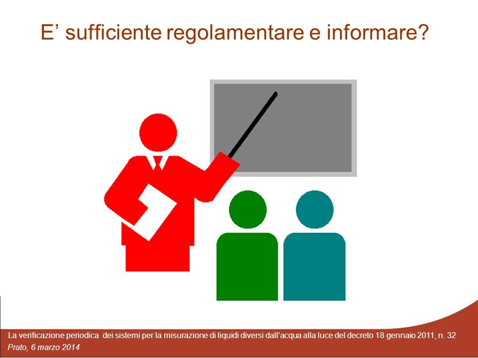 E' sufficiente regolamentare e informare