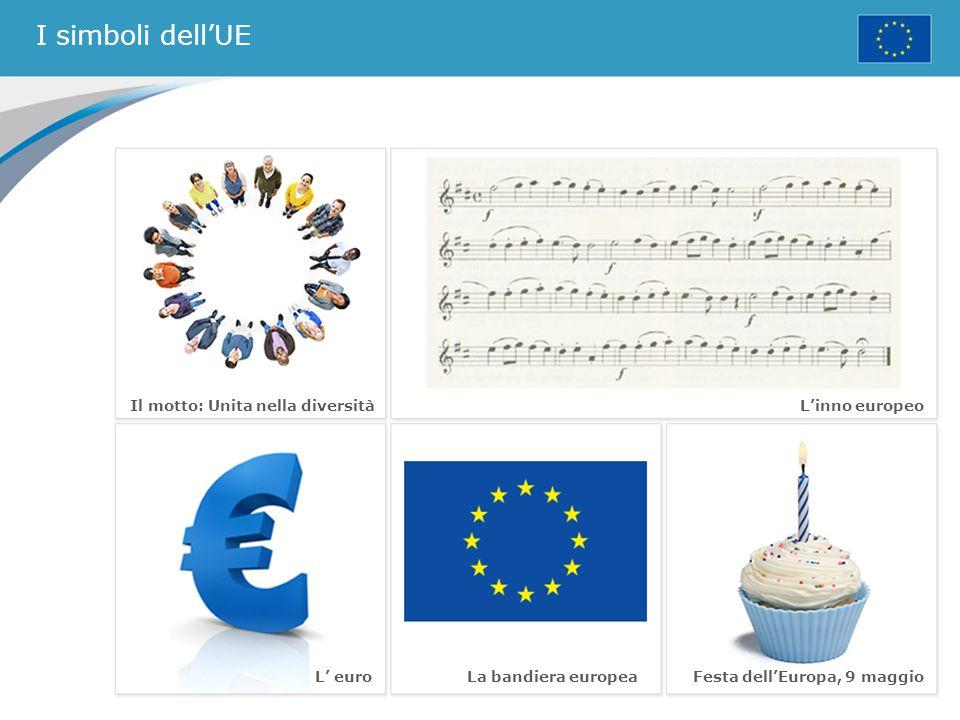 I simboli dell'UE Il motto: Unita nella diversità L'inno europeo