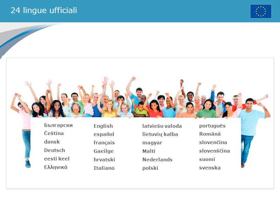 24 lingue ufficiali Български Čeština dansk Deutsch eesti keel