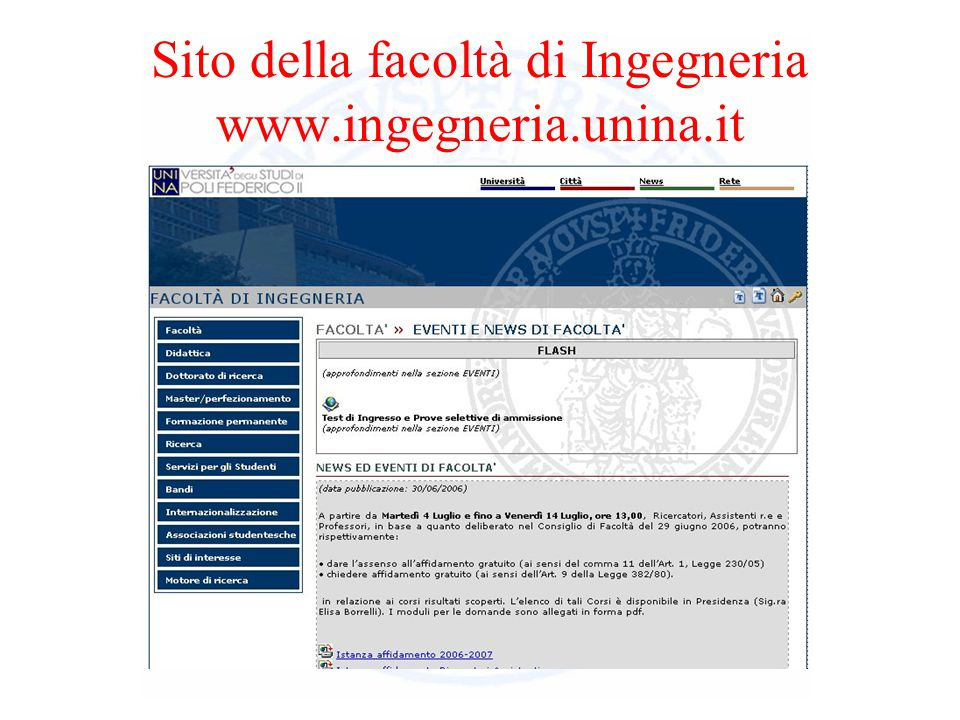 Sito della facoltà di Ingegneria www.ingegneria.unina.it