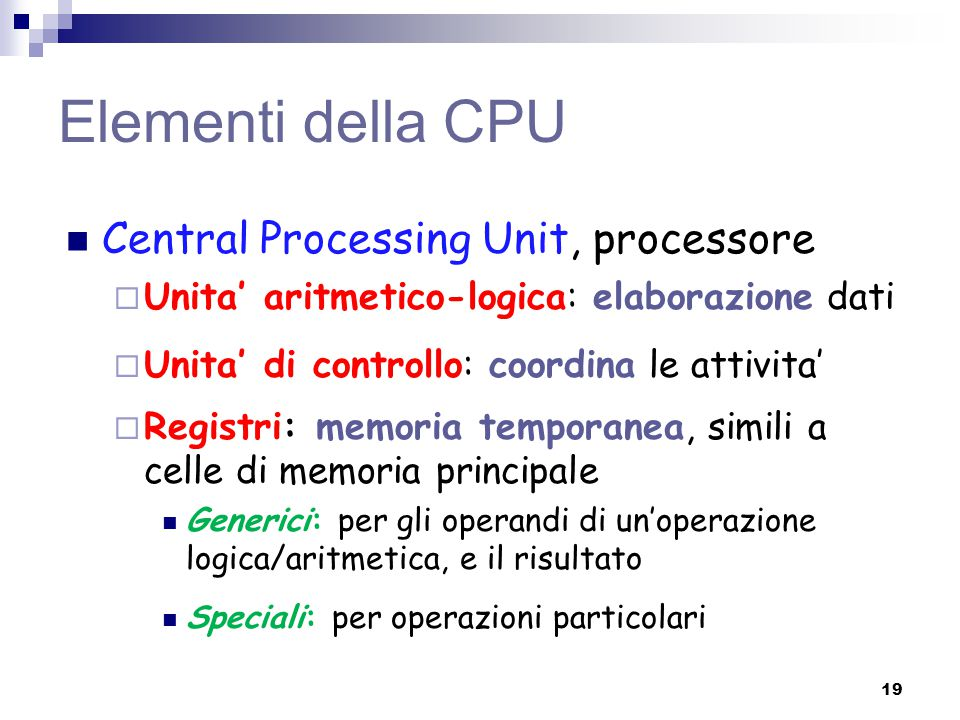 Elementi della CPU Central Processing Unit, processore