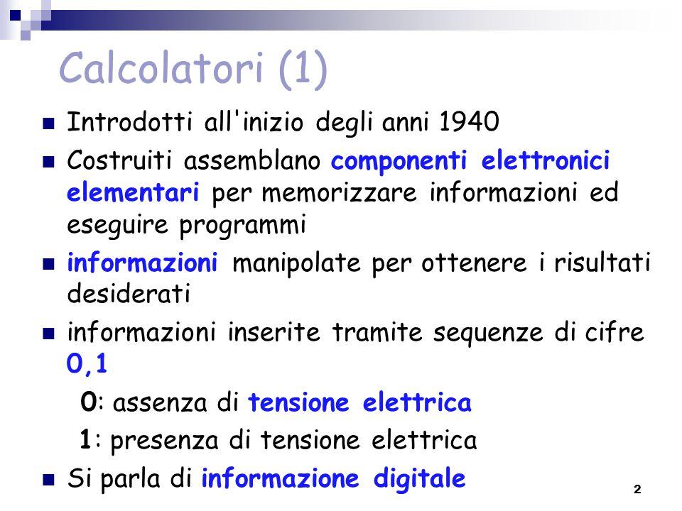 Calcolatori (1) Introdotti all inizio degli anni 1940