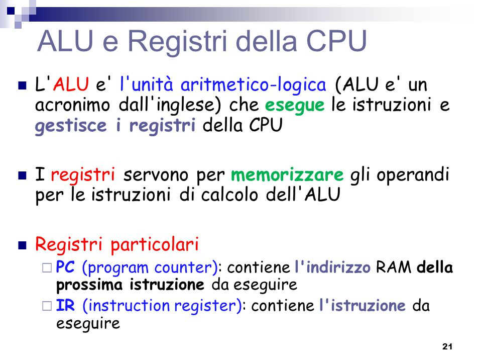 ALU e Registri della CPU