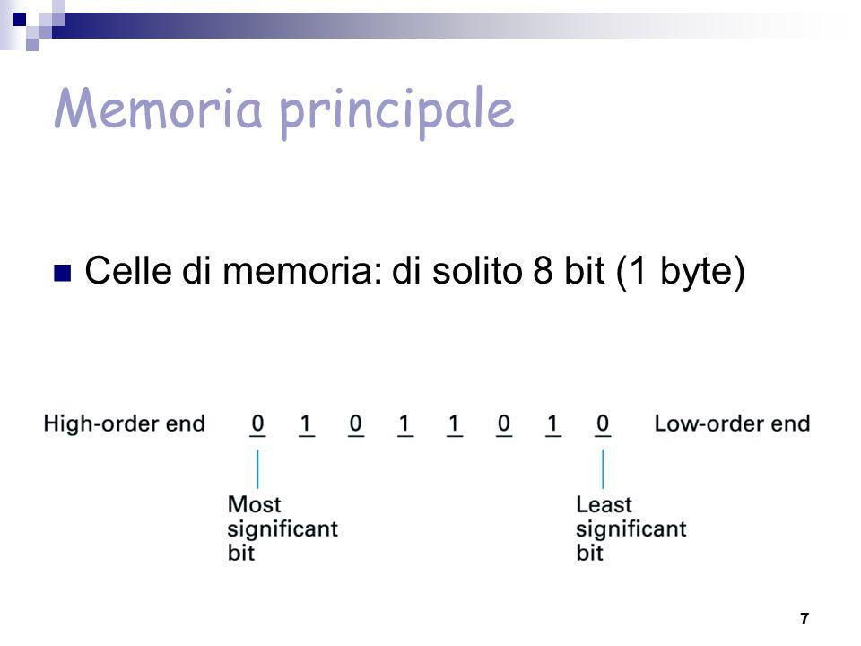 Memoria principale Celle di memoria: di solito 8 bit (1 byte)